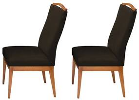 Conjunto 2 Cadeiras Decorativa Lara Veludo Marrom