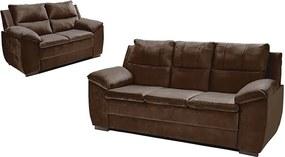 Conjunto De Sofá Com Fibra No Encosto Apogeu 3 E 2 Lugares Tecido Suede Café - Umaflex
