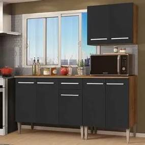 Cozinha Compacta Madesa Emilly Free com Armário e Balcão Rustic/Preto Cor:Rustic/Preto