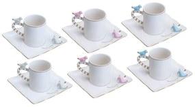 Jogo Xícaras Café Porcelana 6 Peças Birds Desing Plate Colorido 80ml 35469 Wolff