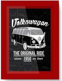 Quadro Poster Vidro E Madeira Volkswagen Kombi Cinza