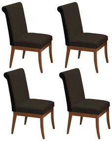 Conjunto 4 Cadeiras Larissa Aveludado Marrom + Couríssimo Preto