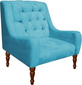 Poltrona Decorativa Maia Suede Azul Tiffany - D'Rossi