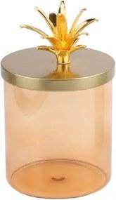 Pote de Vidro Salmão com Tampa Dourada com Coroa