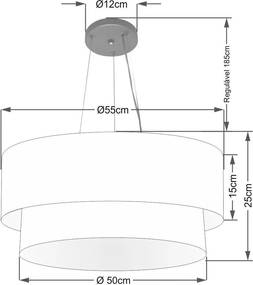 Lustre Pendente Duplo Cilíndrico Vivare Md-4370 Cúpula em Tecido 55x50cm - Bivolt - Preto / Palha - 110V/220V