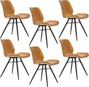Kit 06 Cadeiras Para Sala de Jantar Cozinha Long Marrom Vintage Brown - Gran Belo