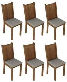 Kit 6 Cadeiras 4290 Madesa Rustic/Pérola Cor:Rustic/Pérola