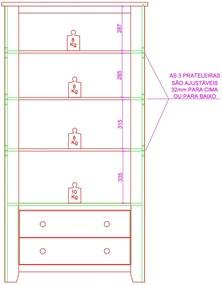 Cristaleira Rubi com 2 Portas de Vidro - 2 Gavetas - Cor Teca com Branco