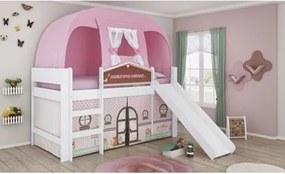 Cama Infantil Escorregador e Barraca Doce Casinha Branco/Rosa - Pura Magia