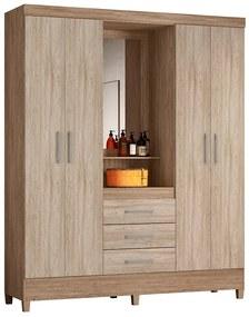 Guarda-Roupa Ester D01 4 Portas com Espelho Nogal/Vanilla Touch - ADJ DECOR