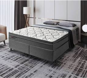 Cama Box King Manhattan Black PKT Molas Ensacadas 193x203x61cm -Preto