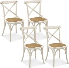 Kit 04 Cadeiras Para Sala de Jantar Cozinha Blair Branco Provençal - Gran Belo