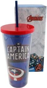 Copo Canudo Metalico Capitão America Azul E Vermelho Zona Criativa