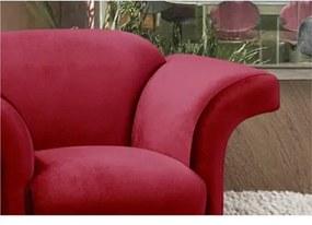 Poltrona Decorativa com Pés Estrela Giratória em Alumínio Tróia Veludo Brilho Vermelho 057 - Ibiza