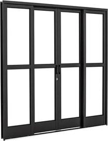 Porta de Aço de Correr Prátika Black Preta com Divisão Central 4 Folhas 217x200x12 - 26322316 - Sasazaki - Sasazaki