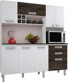 Cozinha Compacta Esmeralda com Tampo 8 Portas Branco/White/Petróleo - Kit's Paraná
