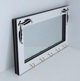 Porta Chaves Crie Casa Espelhado com Arabescos Branco