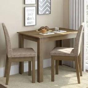 Conjunto Sala de Jantar Madesa Titi Mesa Tampo de Madeira com 2 Cadeiras Rustic/Fendi Cor:Rustic/Fendi
