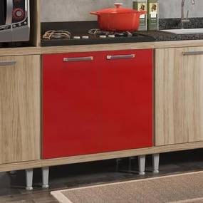 Balcão 2 Portas 1 prateleira e Tampo BP para Cooktop Sicília - Argila Texturizada e Laca Vermelho