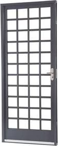 Porta de Aço de Abrir Belfort Quadriculada 1 Folha Abertura Esquerda 217x87x6,5 - Sasazaki - Sasazaki
