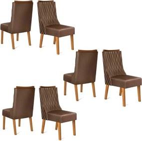 Conjunto 6 Cadeiras Amélia Carvalho Tecido Veludo Moca