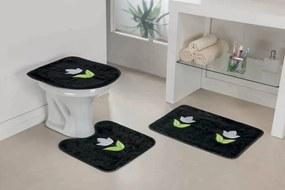 Jogo de Banheiro Guga Tapetes Tulipa 03 Peças Preto
