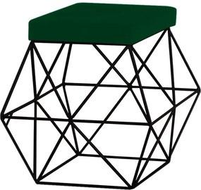 Puff Decorativo Sala de Estar Base Preto Trixie Suede Verde - Gran Belo