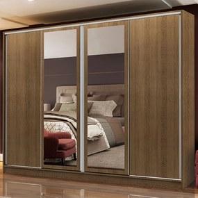 Guarda-Roupa Casal Madesa Cronos 4 Portas de Correr com Espelhos Rustic Cor:Rustic