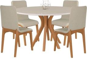 Conjunto Sala de Jantar 4 Cadeiras Lins Mesa Redonda Tampo de Vidro 130cm Willy Champagne/Off White Linho Bege - Gran Belo