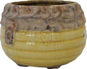 Cachepot em Cerâmica Amarelo com Alto-Relevo