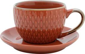 Conjunto 4 Xícaras de Porcelana P/Café C/Pires Laranja 90ml