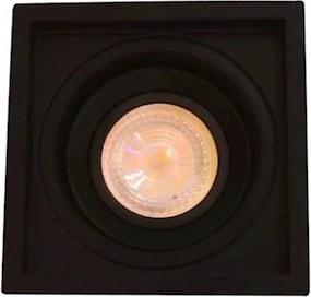 Plafon Embutir Alumínio Preto Dicroica Gu10 Recuado