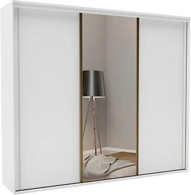 Roupeiro C/Espelho Inteiriço Galileu 267 cm de 3 portas em MDF