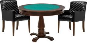 Mesa de Jogos Carteado Victoria Redonda Tampo Reversível Imbuia com 2 Cadeiras Liverpool Corino Preto Matelassê - Gran Belo