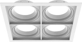 Plafon Embutir Quadruplo Aluminio Branco Par30 E27 Quadra