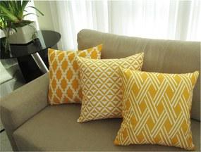 Conjunto 3 Capas para Almofadas Soft Veludo Geométrico Amarelo 43x43cm