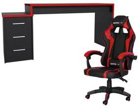 Conjunto PlayerXtreme PRO Mesa e Cadeira Gamer Preto Texturizado/Vermelho - Gran Belo