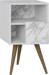 Criado-mudo 1 Porta 1008 Retro Branco/Carrara - Bentec