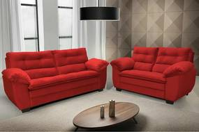 Conjunto De Sofá Macio Com Fibra Premium 3 E 2 Lugares Tecido Suede Vermelho