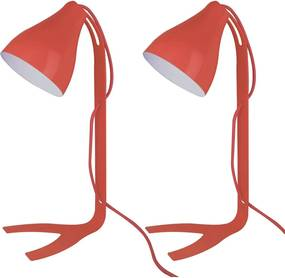 02 Abajures Lamp Show Lindt, 43X18cm, Metal Vermelho