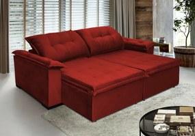 Sofá Retrátil e Reclinavel Soberano 2,72 Mts Molas no Assento Tecido Suede Vermelho - Cama InBox