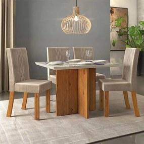Mesa de Jantar Aura Rústico Terrara Off White + 4 Cadeiras Elisa Veludo Kraft