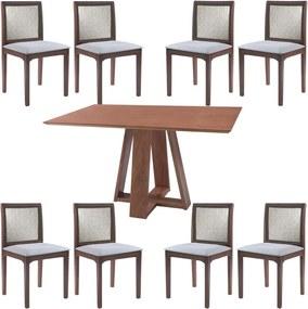Conjunto Mesa Shell com Tampo Amadeirado 150x150 cm e 8 Cadeiras Steve Amêndoa - Gran Belo