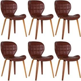 Kit 6 Cadeiras Decorativas de Escritório Recepção GranClass (PU) Marrom  - Gran Belo