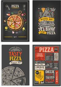 Placas Decorativas MDF Pizzas Diversas 20x30cm Kit 4un