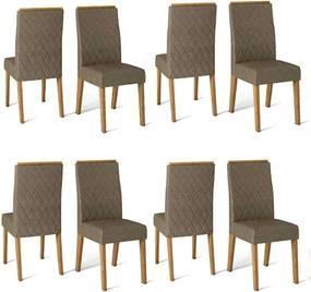 Conjunto 8 Cadeiras Cássia Carvalho Nobre Tecido Pecan