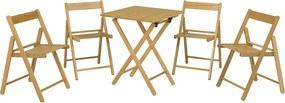 Conjunto Aconchego 1 Mesa + 4 Cadeiras Madeira Tauarí Envernizado Dobráveis - Tramontina