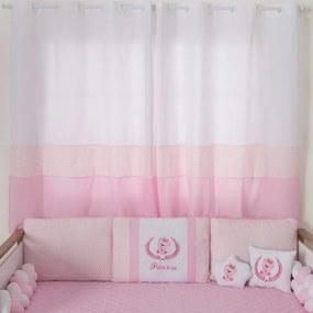 Cortina para Quarto de Bebê Princesa Ursa Rosa