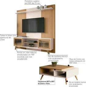 "Conjunto Painel Home Theater para TV até 60"" e Mesa de Centro Sala de Estar Choice Off White/Freijó - Gran Belo"