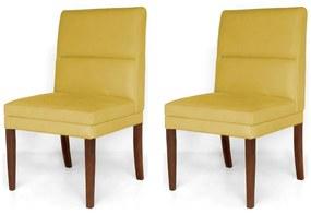 Kit 2 Cadeiras De Jantar Hermione Base Madeira Maciça Estofada Suede Amarelo
